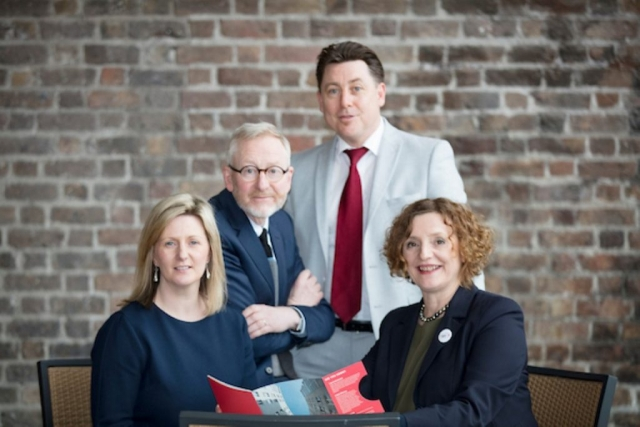 Ms. Grainia Long (Commissioner for Resilience, Belfast City Council); Dr. Rory O'Donnell (Director, NESC); Dr. Dr Dáithí Downey (Principal Investigator Dublin Housing Observatory and Head of Housing Policy, Research and Development for Dublin City Council) and Ms. Michaela Kauer (Director, Vienna House, Brussels)